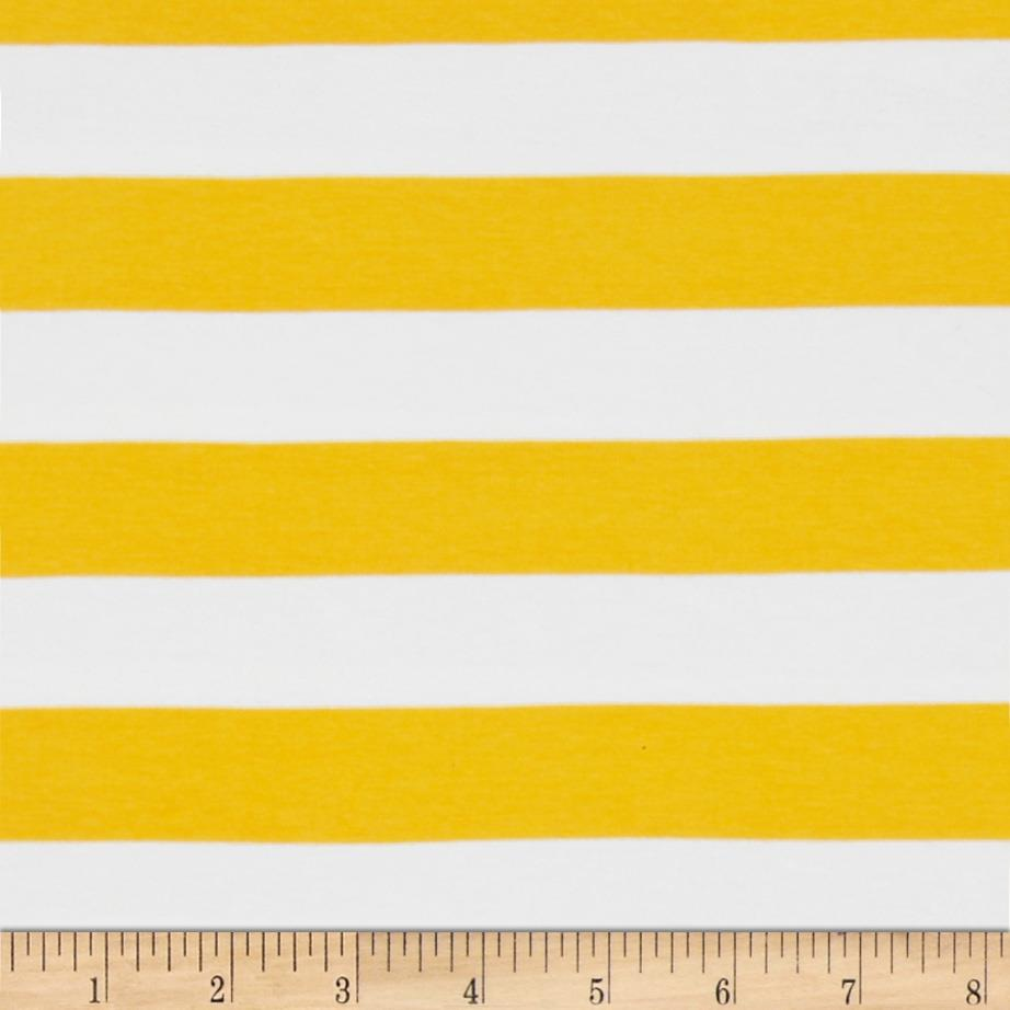 "Riley Blake Cotton Jersey Knit 1"" Stripes Yellow"