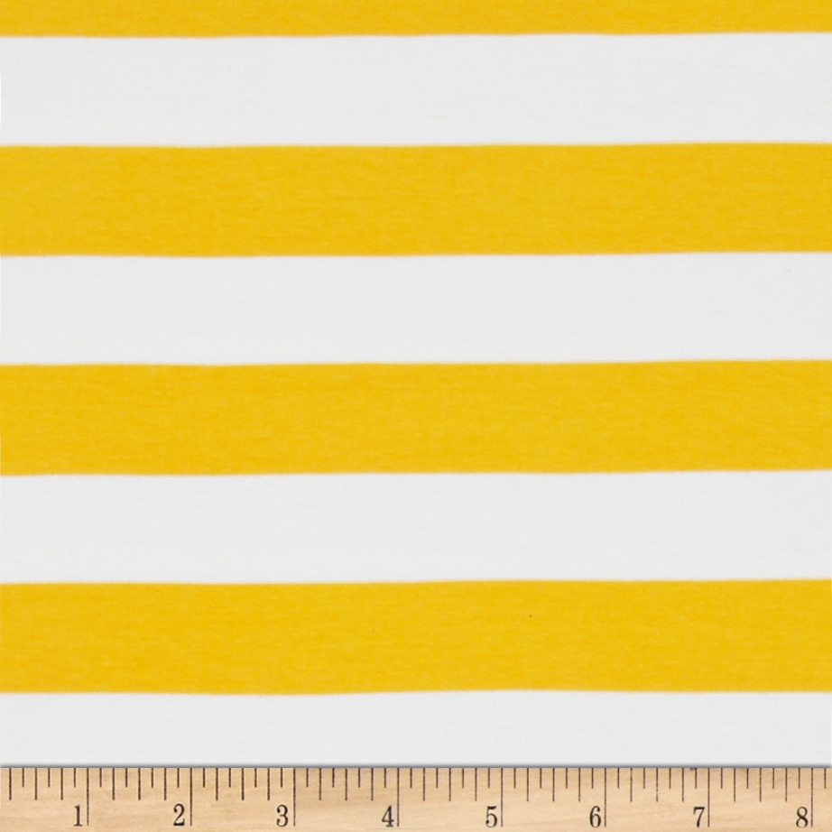 Riley Blake Jersey Knit 1'' Stripes Yellow Fabric