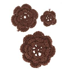 Riley Blake Sew Together Crochet Flowers 3pk Brown