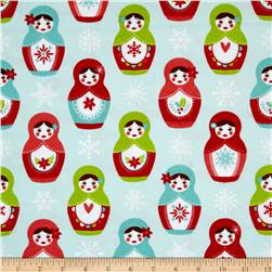 Riley Blake Merry Matryoska Flannel Dolls Blue
