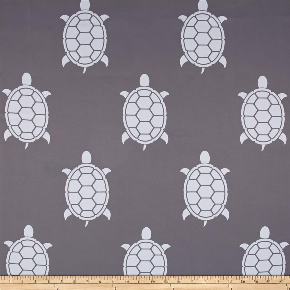 RCA Blackout Drapery Fabric Turtles Grey/White