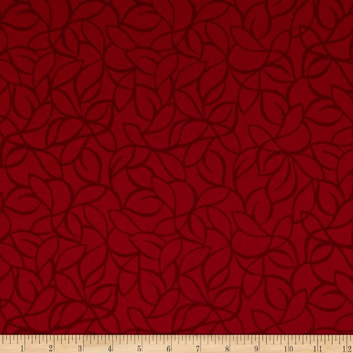 "108"" Wide Quilt Back Windsor Leaves Red"