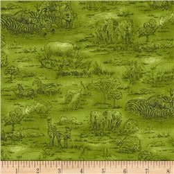 Jungle Party Animal Toile Green Fabric