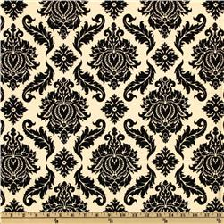 Aviary 2 Damask Cavern Black Fabric