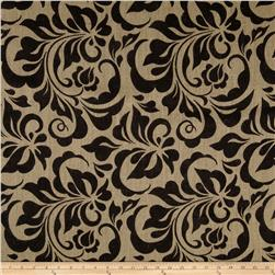Printed Burlap Small Leaf Damask Black Fabric