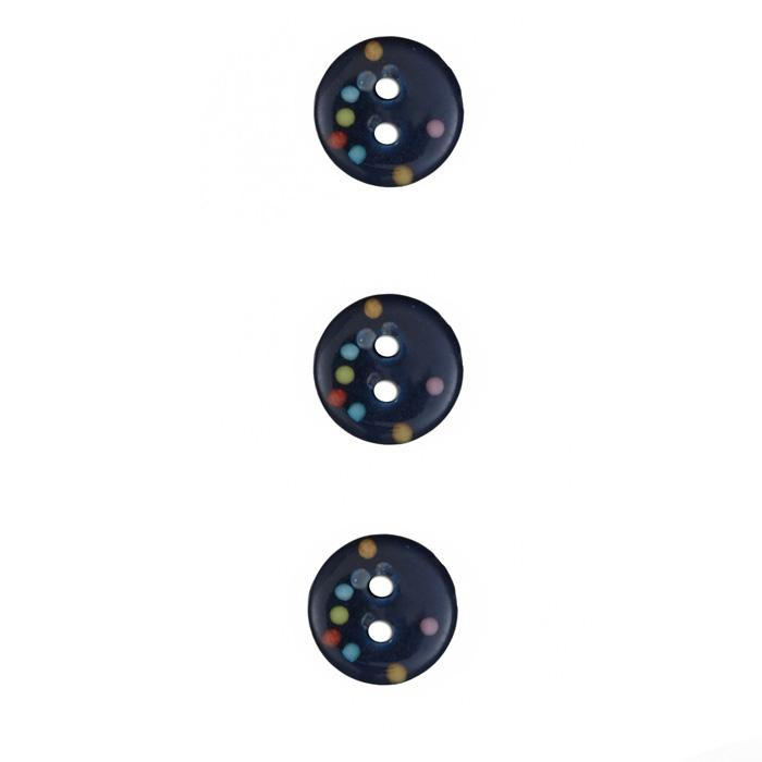 Fashion Button 1/2'' Confetti Sparkles Dark Blue