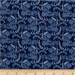 Cloud 9 Organic Moody Blues Floral Navy