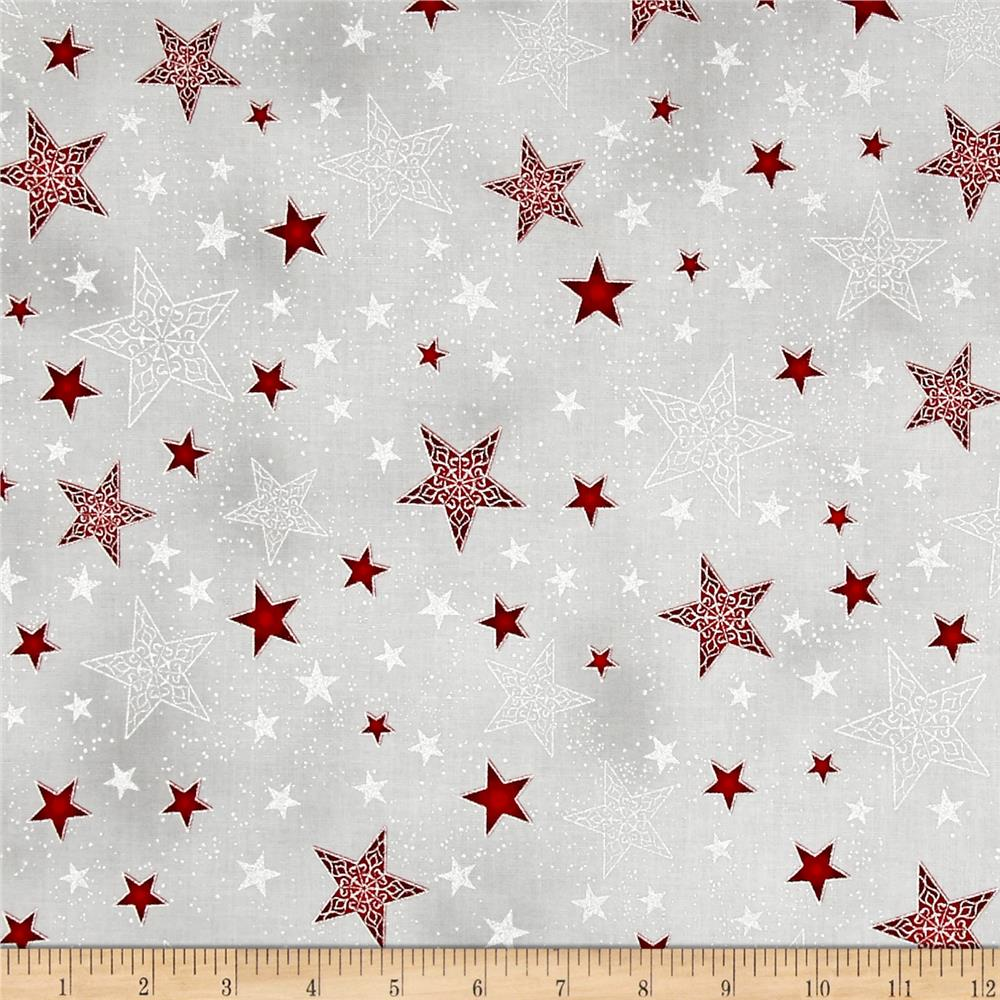 Kaufman Winter Grandeur Metallic Stars Winter
