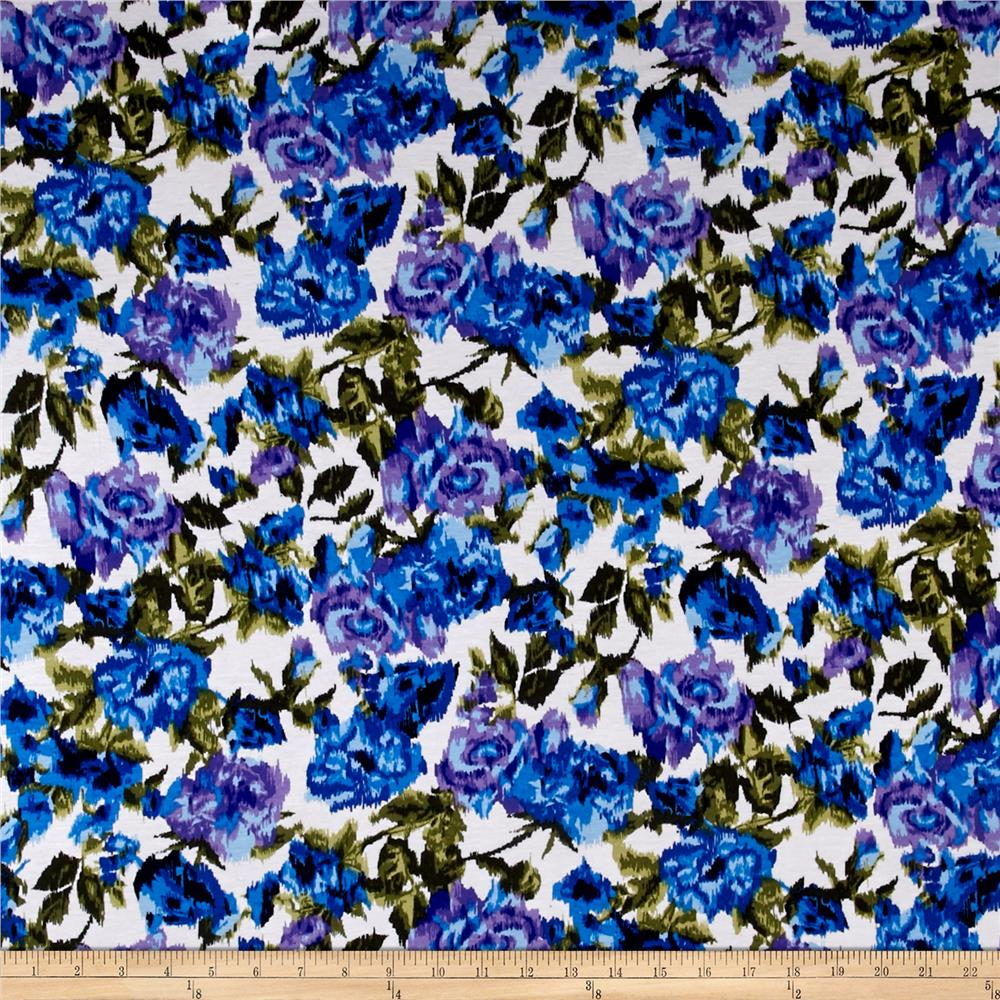 Rayon Jersey Knit Flower Bouquet Maze True Blue and Lilac Fabric By The Yard