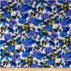 Rayon Jersey Knit Flower Bouquet Maze True Blue and Lilac