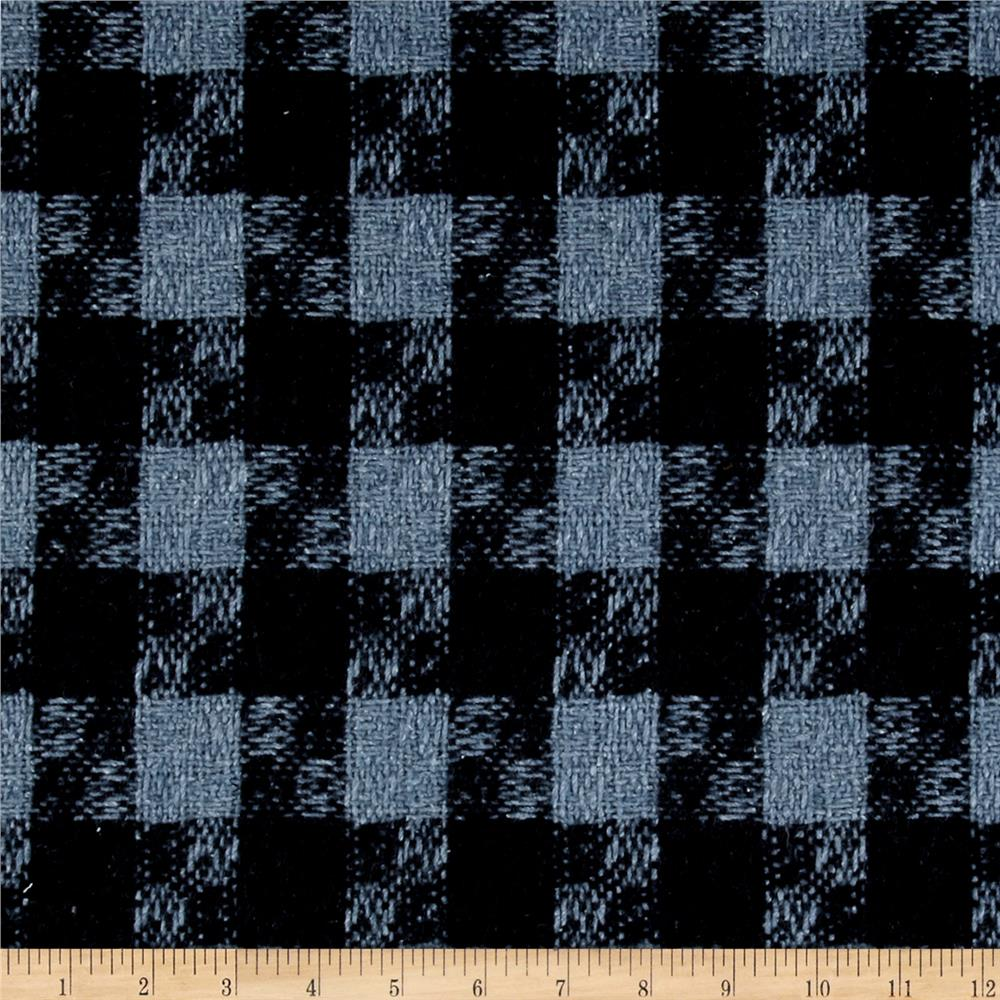 Washable Wool Blend Textured Wood Plaid Sky Blue/Black