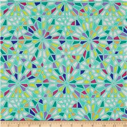 Geometric Silk Chiffon Green/Purple/Yellow
