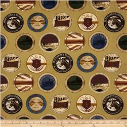 Kanvas Man Cave Beer Labels Khaki Fabric