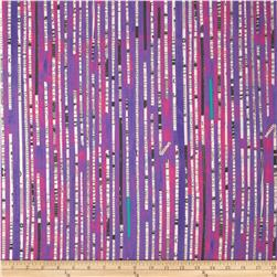 Collage Newsprint Stripe Purple