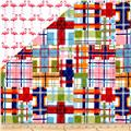 Michael Miller Double Sided Quilted Madras Plaid/Flamingo Dance