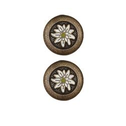 Dill Buttons 7/8'' Full Metal Enamelled Antique Brass
