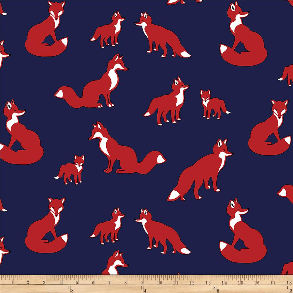 Bolt By Girl Charlee Pure Vintage Jersey Knit Fox Family Navy/Red