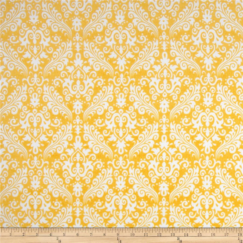 Riley Blake Flannel Medium Damask Yellow - Discount