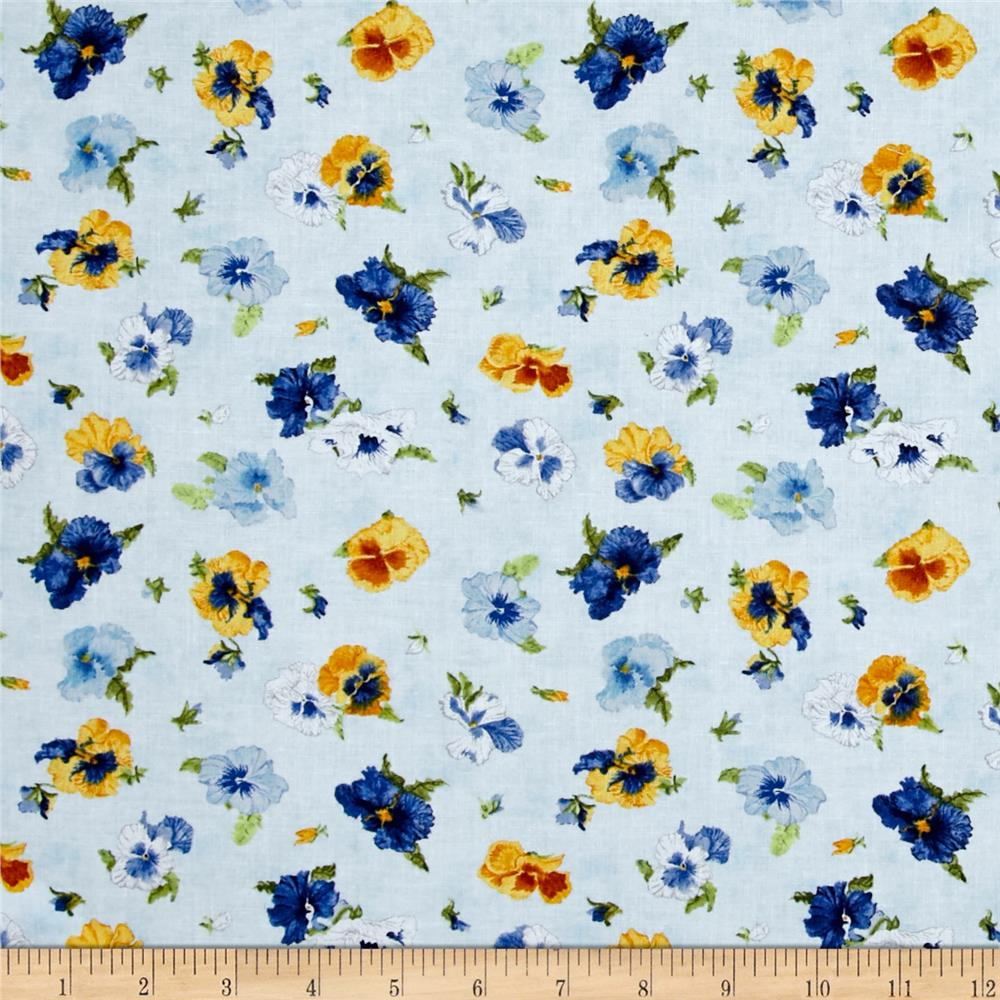 Walking on Sunshine Tossed Pansies Light Blue
