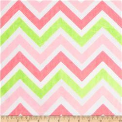 Minky Cuddle Zig Zag Paris Pink/Lime/Snow Fabric