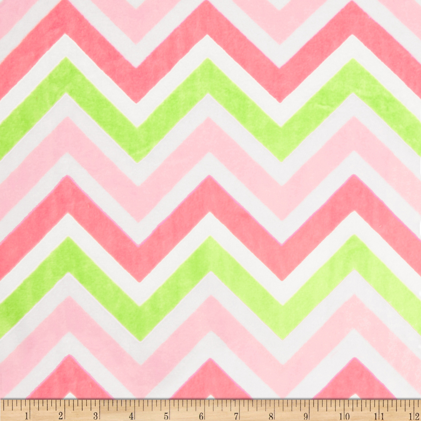 Minky Cuddle Zig Zag Paris Pink/Lime/Snow