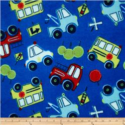 Plush Coral Fleece Tossed Cars Blue Fabric