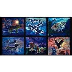 "Robert Kaufman Creatures of The Wild Animal Blocks Panel 24"" Black"