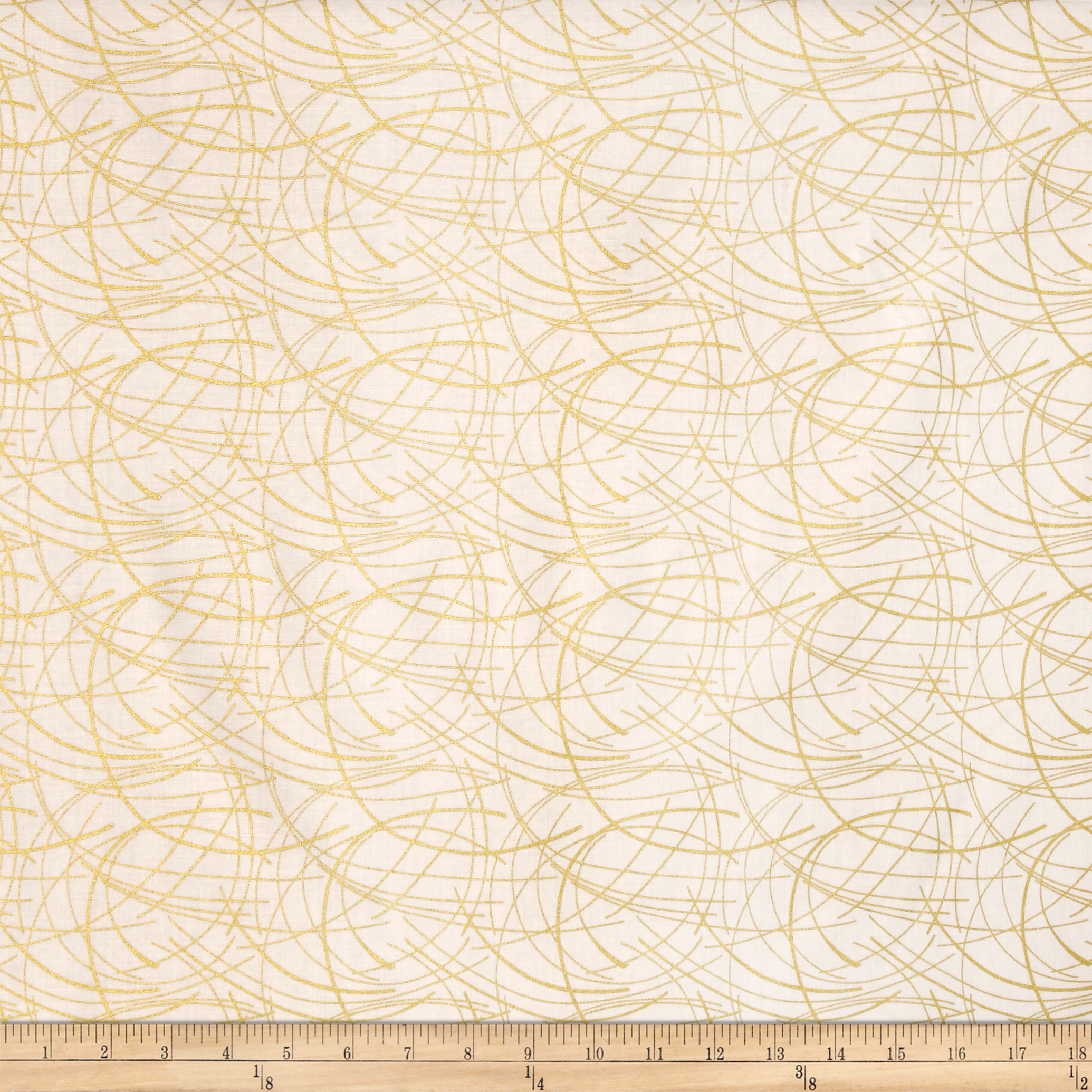 Butterfly Fandango Metallic Golden Spray Gold Arc Ivory Fabric