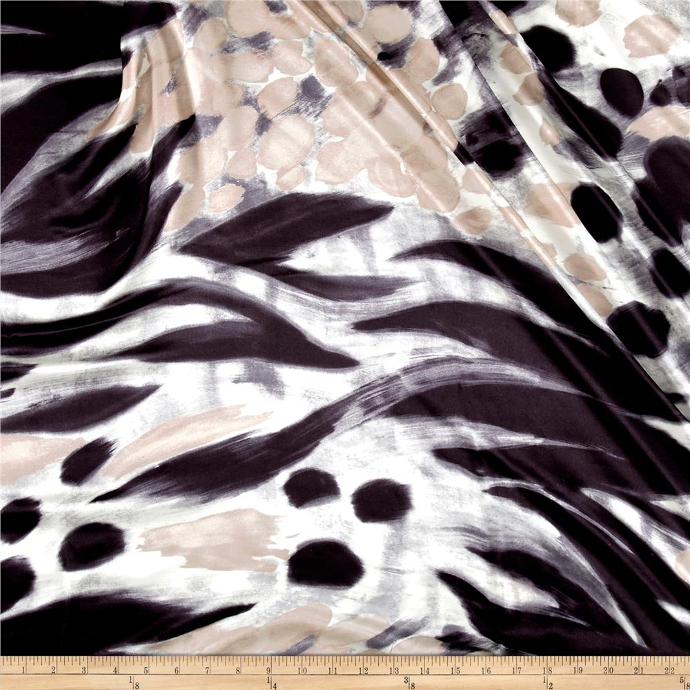 Italian Designer Silk Charmeuse Large Abstract Black/White/Taupe Fabric