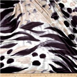 Italian Designer Silk Charmeuse Large Abstract Black/White/Taupe