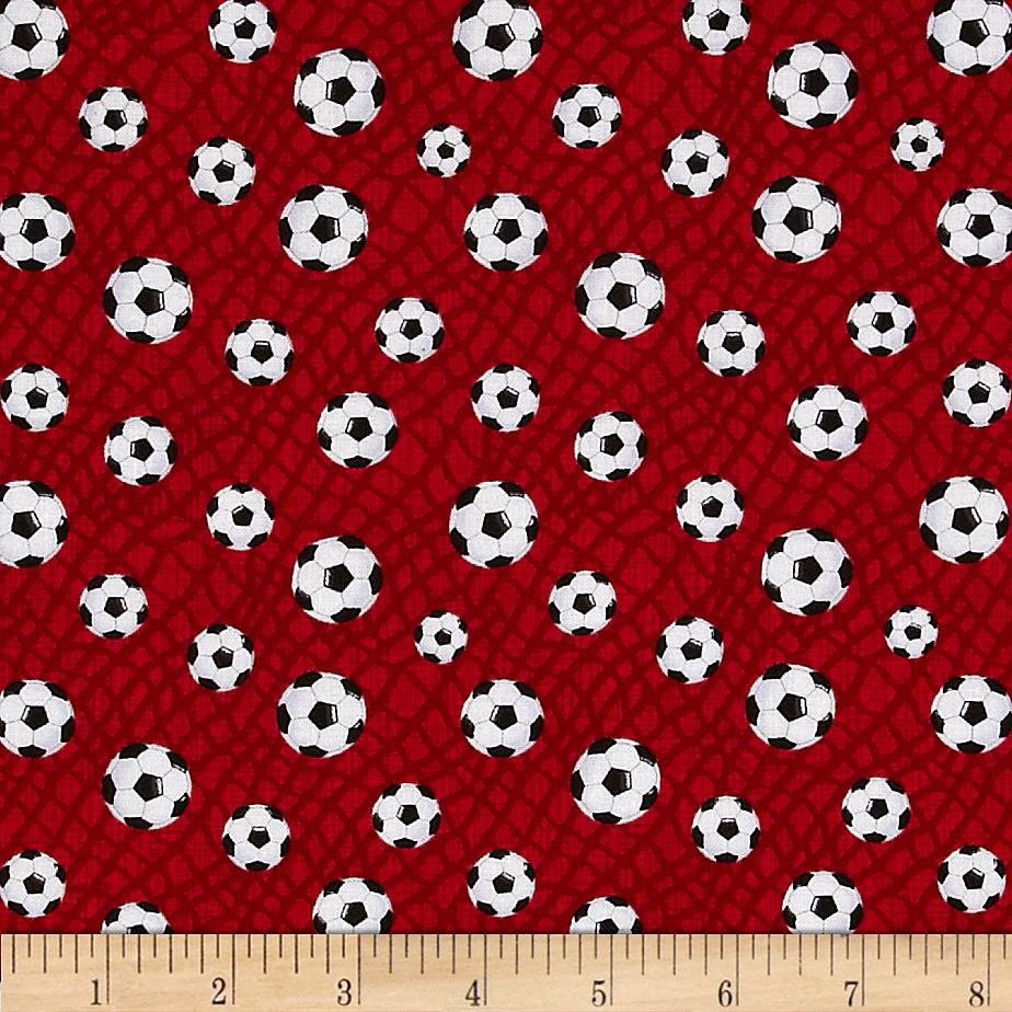 Timeless Treasures Soccer Balls Red