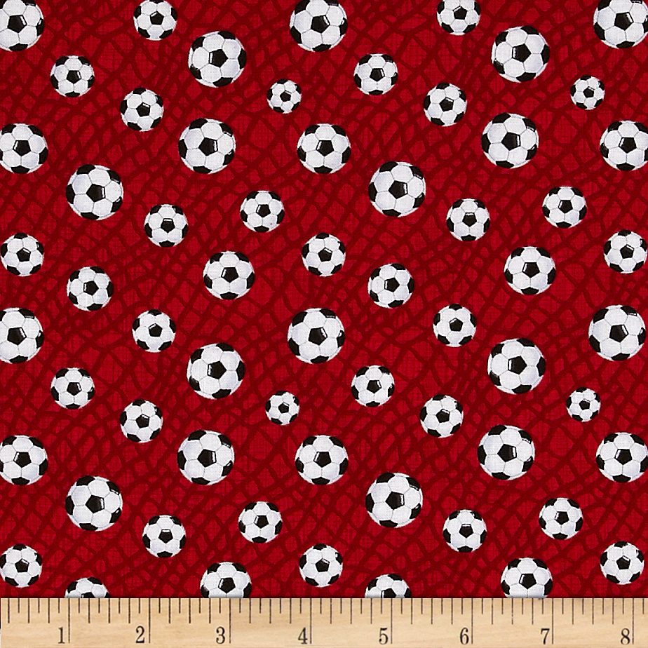 Timeless Treasures Soccer Balls Red Fabric