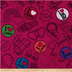 One Direction Fleece Buttons & Doodles Pink