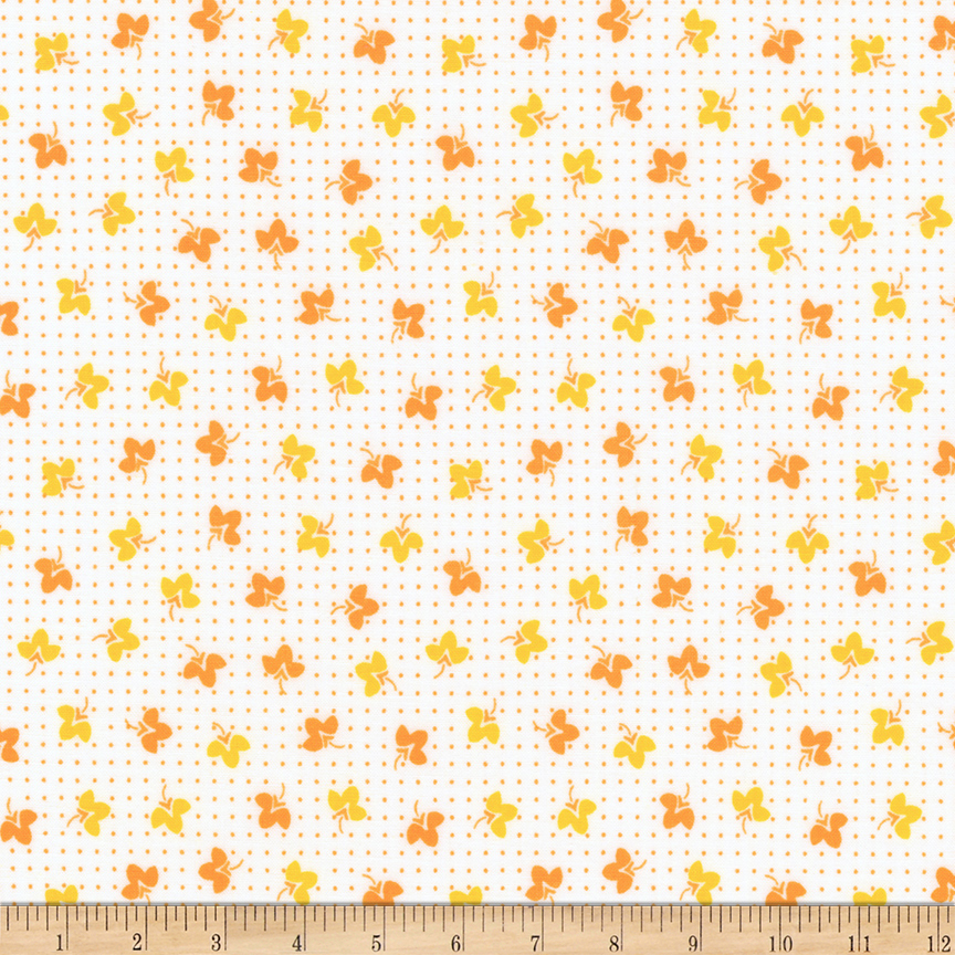 1930s House Dresses Kaufman Naptime Small Flowers Mango Fabric $9.48 AT vintagedancer.com