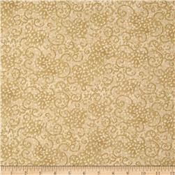 Leafy Scroll 108'' Wide Back Beige