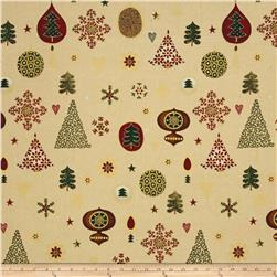 Magical Moments Gold Metallic Trees, Snowflakes & Ornaments Beige