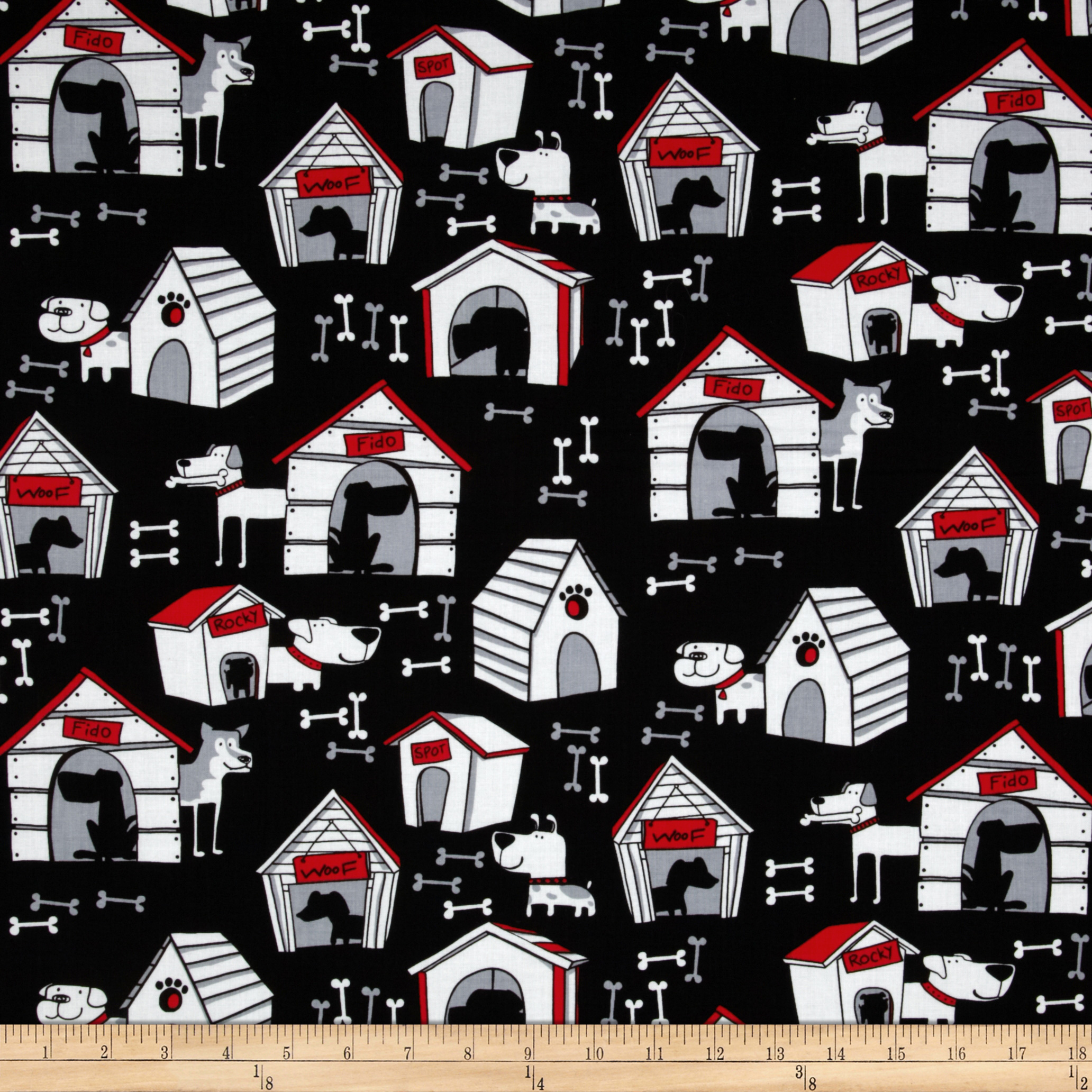 Kanvas Yard Dog Black Fabric