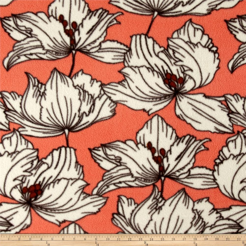 Printed Fleece Dhalia Flower Orange