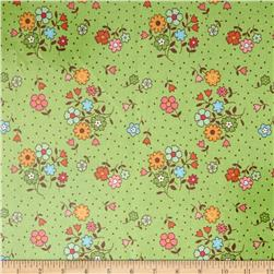 Riley Blake Laminate Flower Bouquet Green