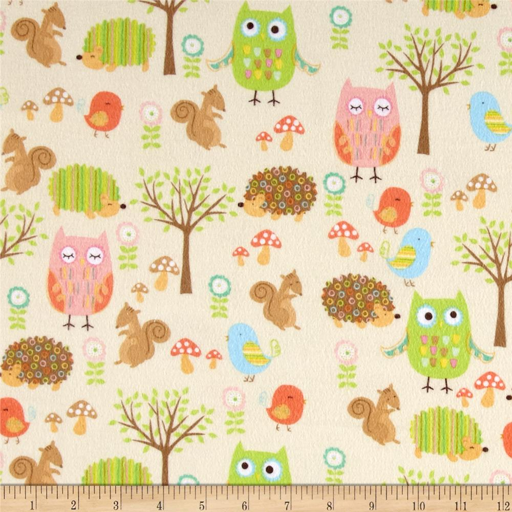 Riley Blake Owl & Co. Flannel Owl Friends Cream