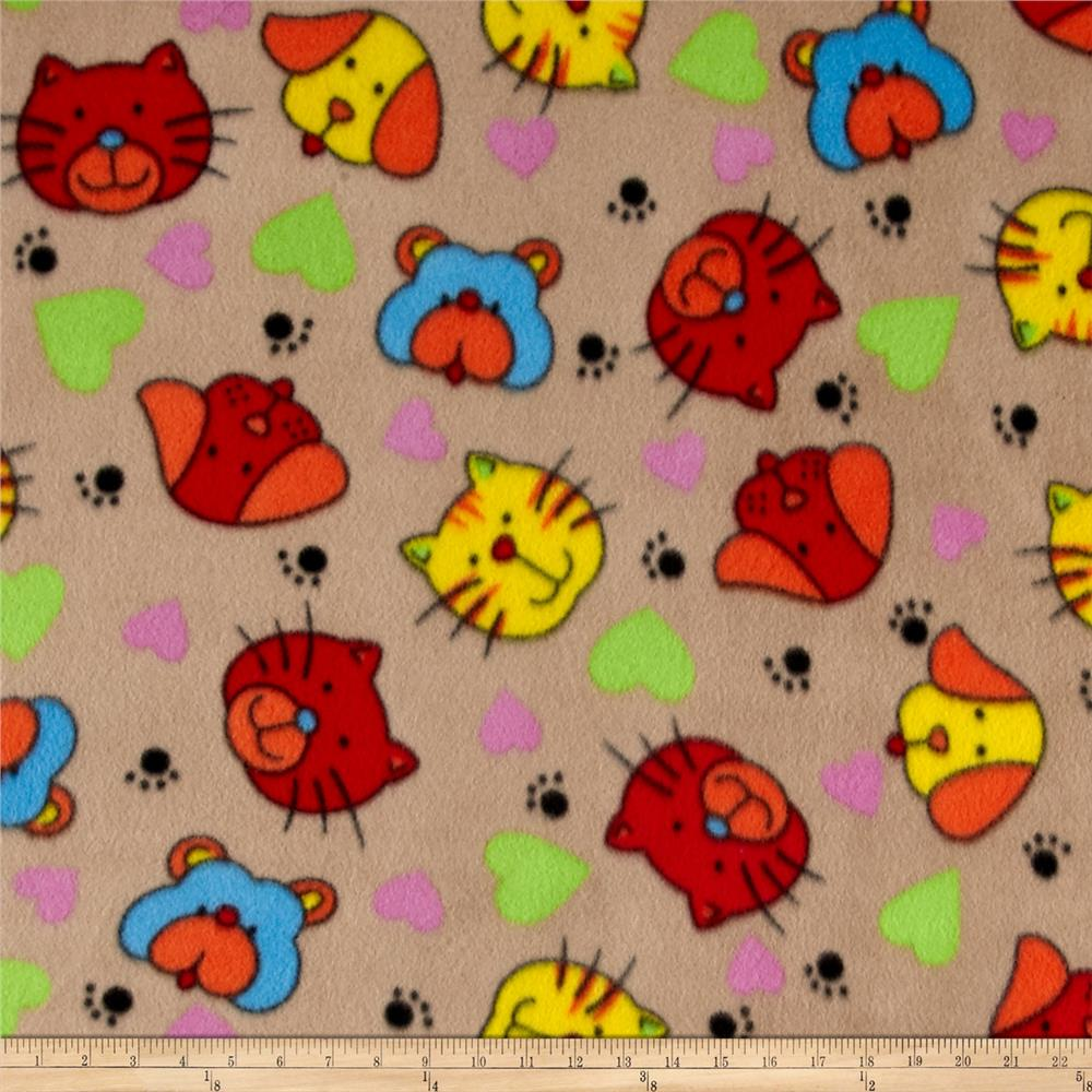 Polar Fleece Print Cat Dog Tan Fabric