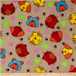 Polar Fleece Print Cat Dog Tan