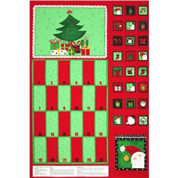 Happy Holly Days Advent Calendar Panel Red