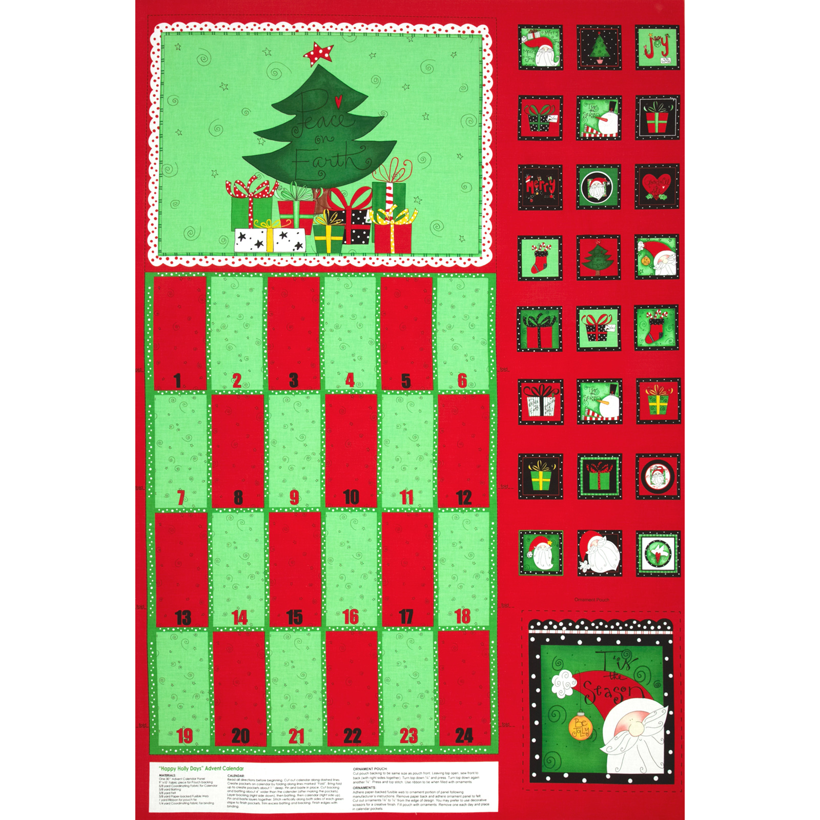 Happy Holly Days Advent Calendar Panel Red Fabric