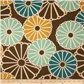 Duralee Whimsy Flower Blend Turquose/Chocolate