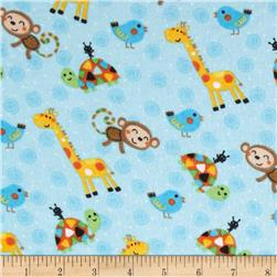 Comfy Flannel Animals & Swirls Blue