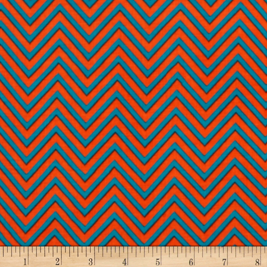 Rayon Challis Zig Zag Orange/teal Fabric
