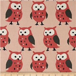 Kokka Canvas Nordic Animals Owls Coral