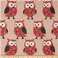 Kokka Trefle Linen Blend Canvas Owls Coral