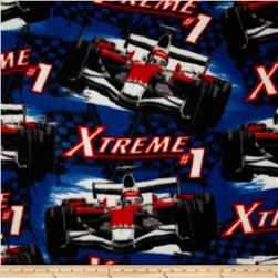 Fleece Racecars Blue Fabric